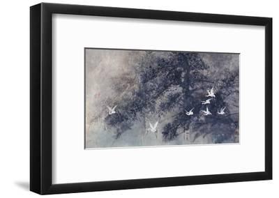 Cranes in Pinewood-Haizann Chen-Framed Giclee Print