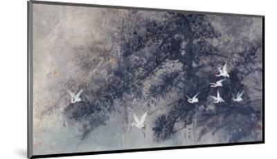 Cranes in Pinewood-Haizann Chen-Mounted Giclee Print