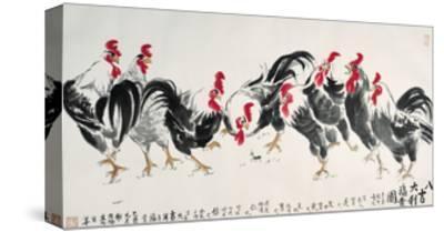 Auspicious Chickens-Guozen Wei-Stretched Canvas Print