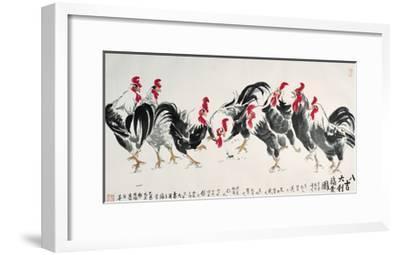 Auspicious Chickens-Guozen Wei-Framed Giclee Print