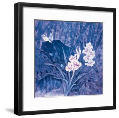 Birds and Flowers at Night-Qishu Wu-Framed Giclee Print