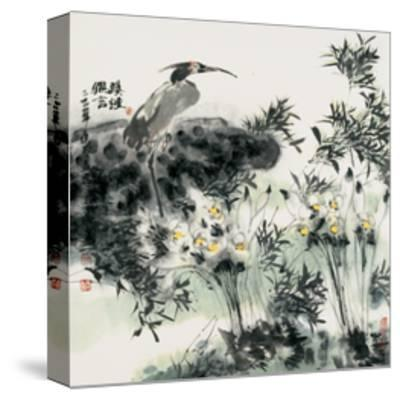 Big Bird and Narcissuses-Wanqi Zhang-Stretched Canvas Print