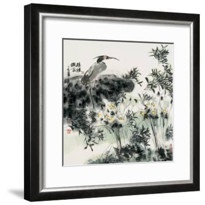 Big Bird and Narcissuses-Wanqi Zhang-Framed Giclee Print