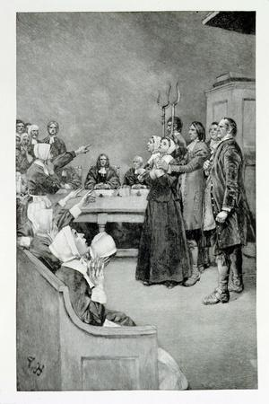 """The Trial of a Witch, from """"Giles Corey, Yeoman"""" by Mary E. Wilkins, Pub. in Harper's Magazine-Howard Pyle-Stretched Canvas Print"""
