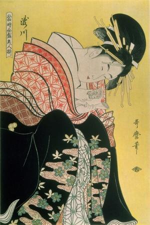 Takigawa from the Tea-House, Ogi-Kitagawa Utamaro-Stretched Canvas Print