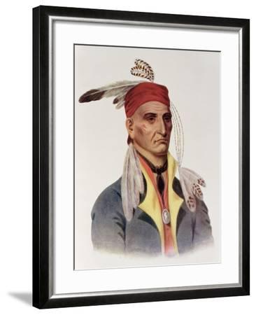 """Shin-Ga-Ba W""""Ossin or """"Image Stone,"""" a Chippeway Chief-James Otto Lewis-Framed Giclee Print"""