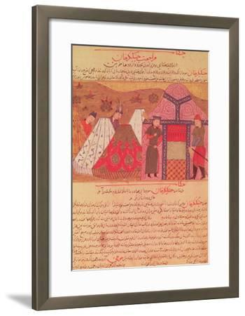 Genghis Khan Outside His Tent, from a Book by Rashid Ad-Din (1247-1318)--Framed Giclee Print