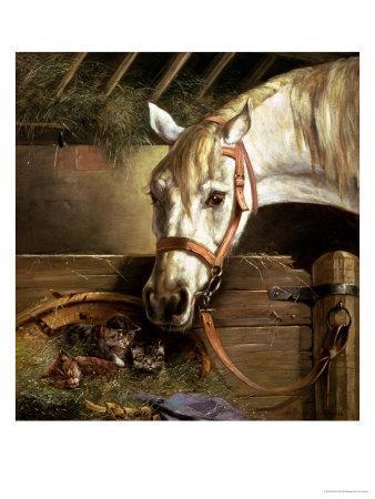 Horse and Kittens, 1890-Moritz Muller-Framed Giclee Print