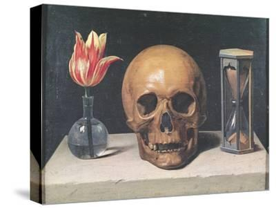Vanitas Still Life with a Tulip, Skull and Hour-Glass-Philippe De Champaigne-Stretched Canvas Print