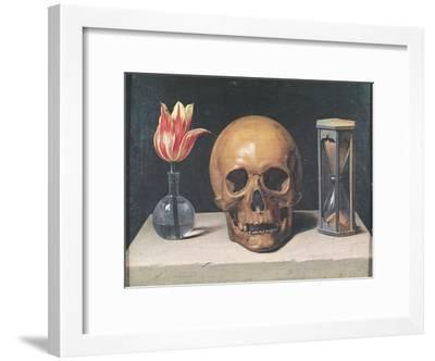 Vanitas Still Life with a Tulip, Skull and Hour-Glass-Philippe De Champaigne-Framed Giclee Print