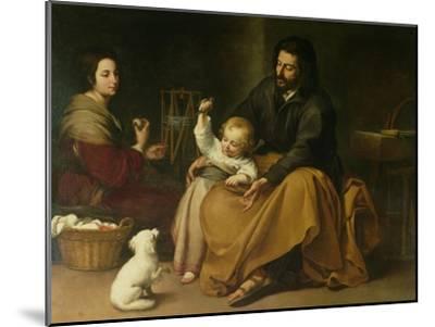 The Holy Family with the Little Bird, circa 1650-Bartolome Esteban Murillo-Mounted Giclee Print