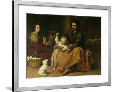 The Holy Family with the Little Bird, circa 1650-Bartolome Esteban Murillo-Framed Giclee Print