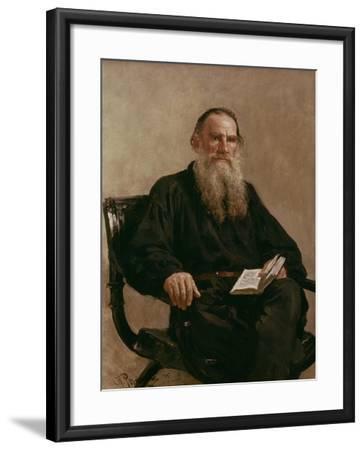 Lev Tolstoy (1828-1810) 1887-Ilya Efimovich Repin-Framed Giclee Print