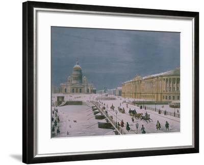 The Isaac Cathedral and the Senate Square in St. Petersburg, 1840s-Paul Marie Roussel-Framed Giclee Print