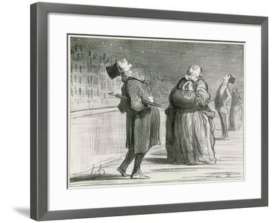 Parisians Waiting for the Famous Comet, 1857-Honore Daumier-Framed Giclee Print