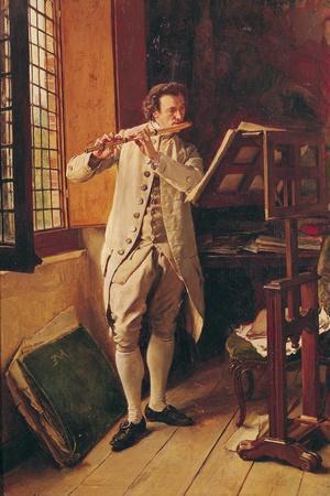 The Flute Player-Jean-Louis Ernest Meissonier-Stretched Canvas Print