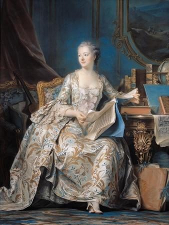 Jeanne Poisson (1721-64) the Marquise De Pompadour, 1755-Maurice Quentin de La Tour-Framed Giclee Print