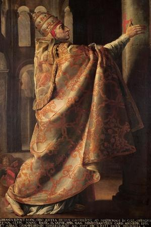 Pope Urban II (circa 1035-99) Consecrating the Church of St. Sernin of Toulouse-Antoine Rivalz-Stretched Canvas Print