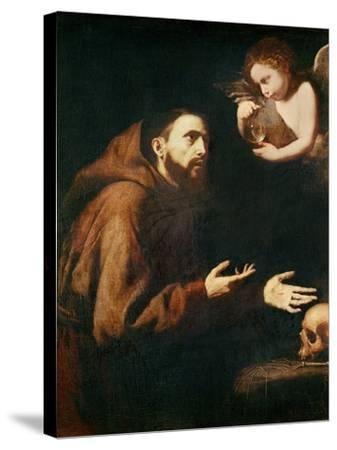 Vision of St. Francis of Assisi-Jusepe de Ribera-Stretched Canvas Print