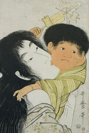 Yama-Uba and Kintoki-Kitagawa Utamaro-Stretched Canvas Print