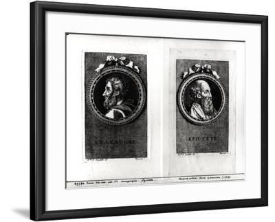 Anaxagorus (500-428 BC) and Epictetus (1st Century) Engraved by S. Beyssent-Claude Reydellet-Framed Giclee Print