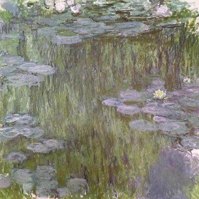 Nympheas at Giverny, 1918-Claude Monet-Stretched Canvas Print