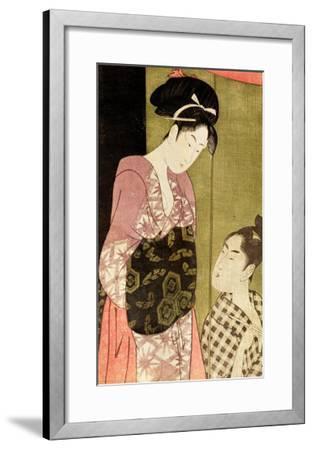 A Man Painting a Woman-Kitagawa Utamaro-Framed Giclee Print