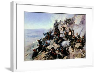 """The Defence of the """"Eagle Aerie"""" on the Shipka in 1877, 1893-Andrei Nikolaevich Popov-Framed Giclee Print"""