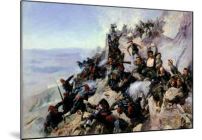 """The Defence of the """"Eagle Aerie"""" on the Shipka in 1877, 1893-Andrei Nikolaevich Popov-Mounted Giclee Print"""