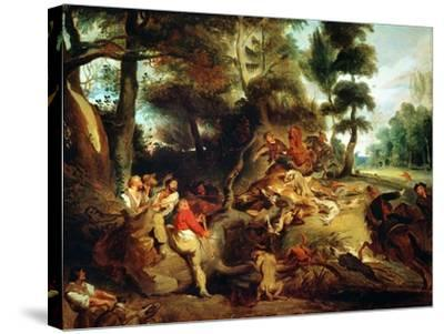 The Wild Boar Hunt, after a Painting by Rubens, circa 1840-50-Eugene Delacroix-Stretched Canvas Print