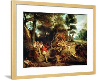 The Wild Boar Hunt, after a Painting by Rubens, circa 1840-50-Eugene Delacroix-Framed Giclee Print