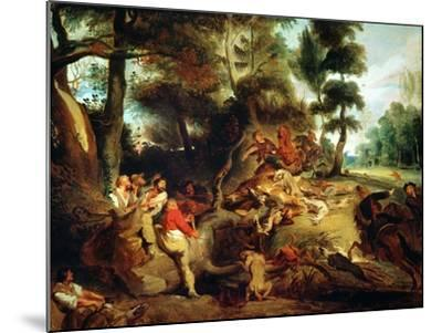 The Wild Boar Hunt, after a Painting by Rubens, circa 1840-50-Eugene Delacroix-Mounted Giclee Print