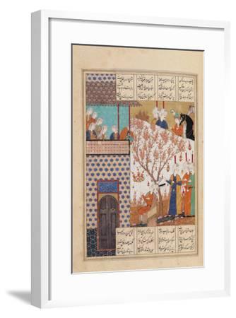 Khosro Before Shirins Palace, Illustration to Khosro and Shirin, 1176, by Elias Nezami (1140-1209)--Framed Giclee Print
