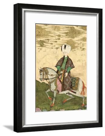 Equestrian Portrait of Sultan Osman II (1603-22) 1618- Nakshi-Framed Giclee Print