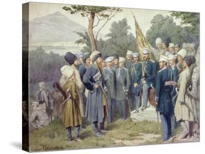 Caucasian Leader Shamil (circa 1798-1871) Surrendering to Count Baryatinsky in 1859, 1880-Aleksei Danilovich Kivshenko-Stretched Canvas Print