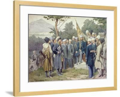 Caucasian Leader Shamil (circa 1798-1871) Surrendering to Count Baryatinsky in 1859, 1880-Aleksei Danilovich Kivshenko-Framed Giclee Print