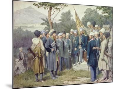 Caucasian Leader Shamil (circa 1798-1871) Surrendering to Count Baryatinsky in 1859, 1880-Aleksei Danilovich Kivshenko-Mounted Giclee Print