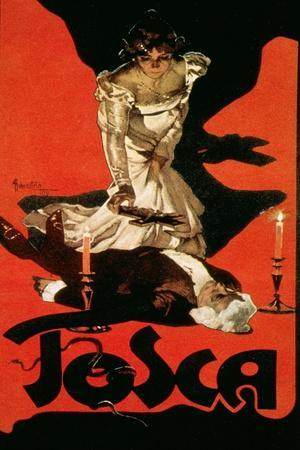 Poster Advertising a Performance of Tosca, 1899-Adolfo Hohenstein-Stretched Canvas Print