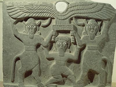 Relief Depicting Gilgamesh Between Two Bull-Men Supporting a Winged Sun Disk, Fr.Tell-Halaf, Syria--Stretched Canvas Print