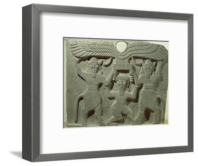Relief Depicting Gilgamesh Between Two Bull-Men Supporting a Winged Sun Disk, Fr.Tell-Halaf, Syria--Framed Premium Giclee Print