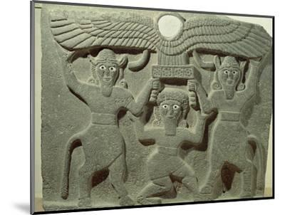 Relief Depicting Gilgamesh Between Two Bull-Men Supporting a Winged Sun Disk, Fr.Tell-Halaf, Syria--Mounted Premium Giclee Print