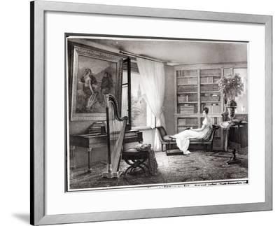 Madame Recamier (1777-1849) at Abbaye-Aux-Bois, 1810-44-Francois Louis Dejuinne-Framed Giclee Print