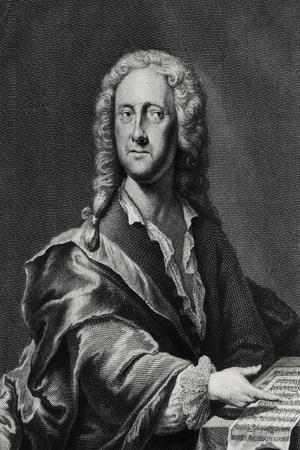 Portrait of Georg Philipp Telemann (1681-1757)-Georg Lichtensteger-Stretched Canvas Print