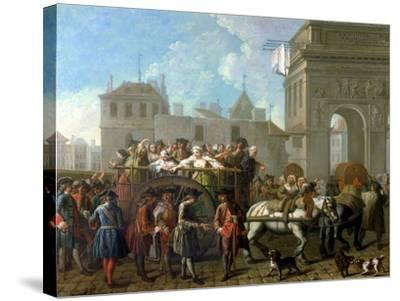 Transport of Prostitutes to the Salpetriere, circa 1760-1770-Etienne Jeaurat-Stretched Canvas Print