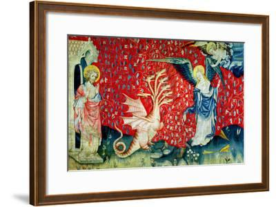 """The Woman Receiving Wings to Flee the Dragon, No.37 from """"The Apocalypse of Angers,"""" 1373-87-Nicolas Bataille-Framed Giclee Print"""
