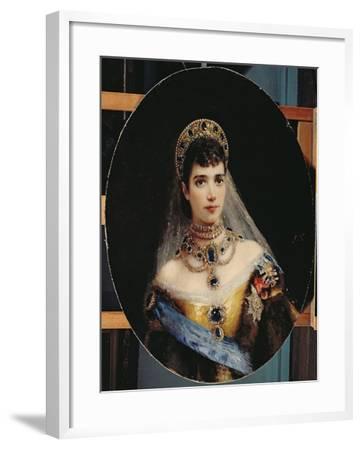 Portrait of Empress Maria Fyodorovna (1847-1928) Dagmar of Denmark-Konstantin Egorovich Makovsky-Framed Giclee Print