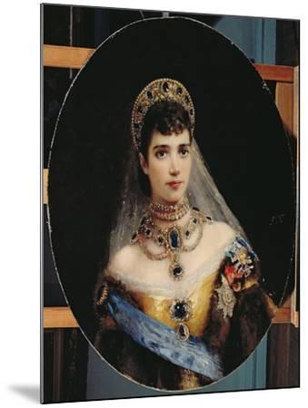 Portrait of Empress Maria Fyodorovna (1847-1928) Dagmar of Denmark-Konstantin Egorovich Makovsky-Mounted Giclee Print