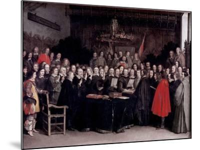 The Swearing of the Oath of Ratification of the Treaty of Munster, 1648-Gerard Terborch-Mounted Giclee Print