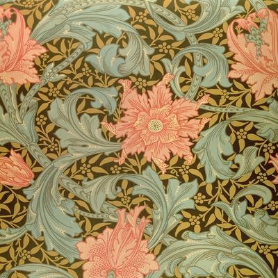 """Single Stem"" Wallpaper Design-William Morris-Stretched Canvas Print"