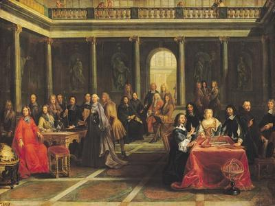 Queen Christina of Sweden (1626-89) and Her Court-Pierre-Louis the Younger Dumesnil-Stretched Canvas Print